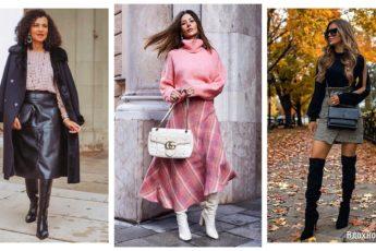 Как носить юбку с сапогами этой осенью: 14 гармоничных примеров